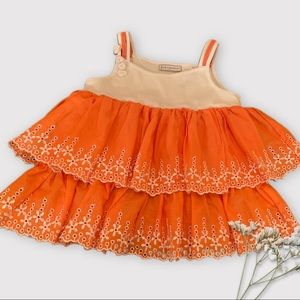 First Impressions 18 Month Orange and White Dress